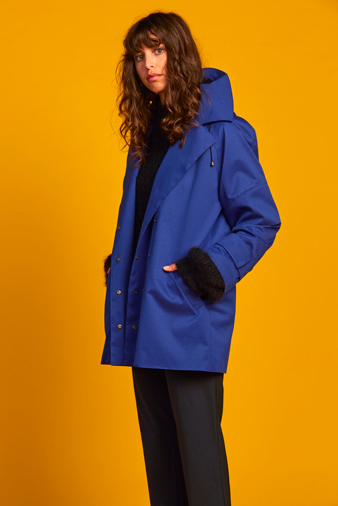 Recycled Line | Domed Peacoat | Blue