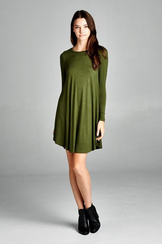 Olive Scoop Neck Tunic Dress