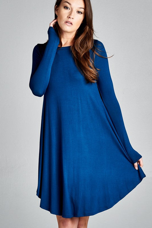 Teal Scoop Neck Tunic Dress