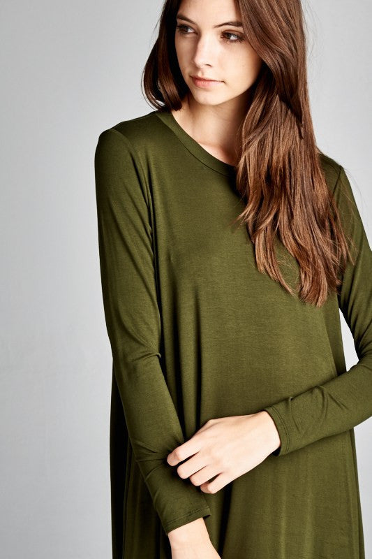 Olive Open Back Tunic Dress