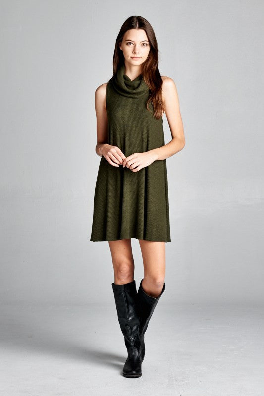 Olive Cowl Turtle Neck Dress