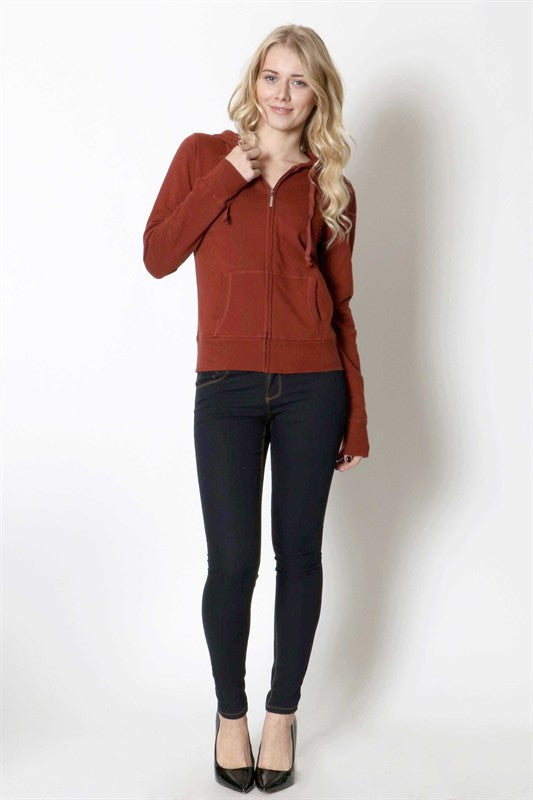 Solid Warm Knitted Casual Zip-Up Hoodie Jackets