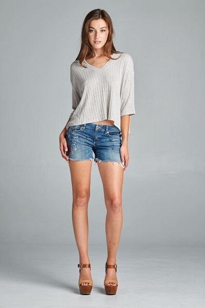 Oversize V neck Crop Top