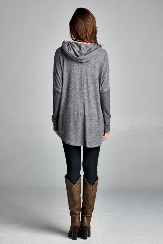 LOOSE FIT, LONG SLEEVE, COWL NECK TOP