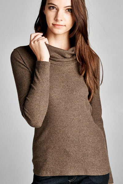 SEMI FIT LONG SLEEVE COWL TURTLE NECK TOP