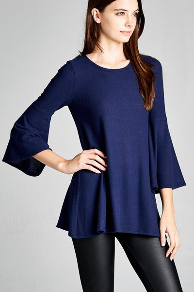 LOOSE FIT 3/4 BELL SLEEVE ROUND NECK TOP
