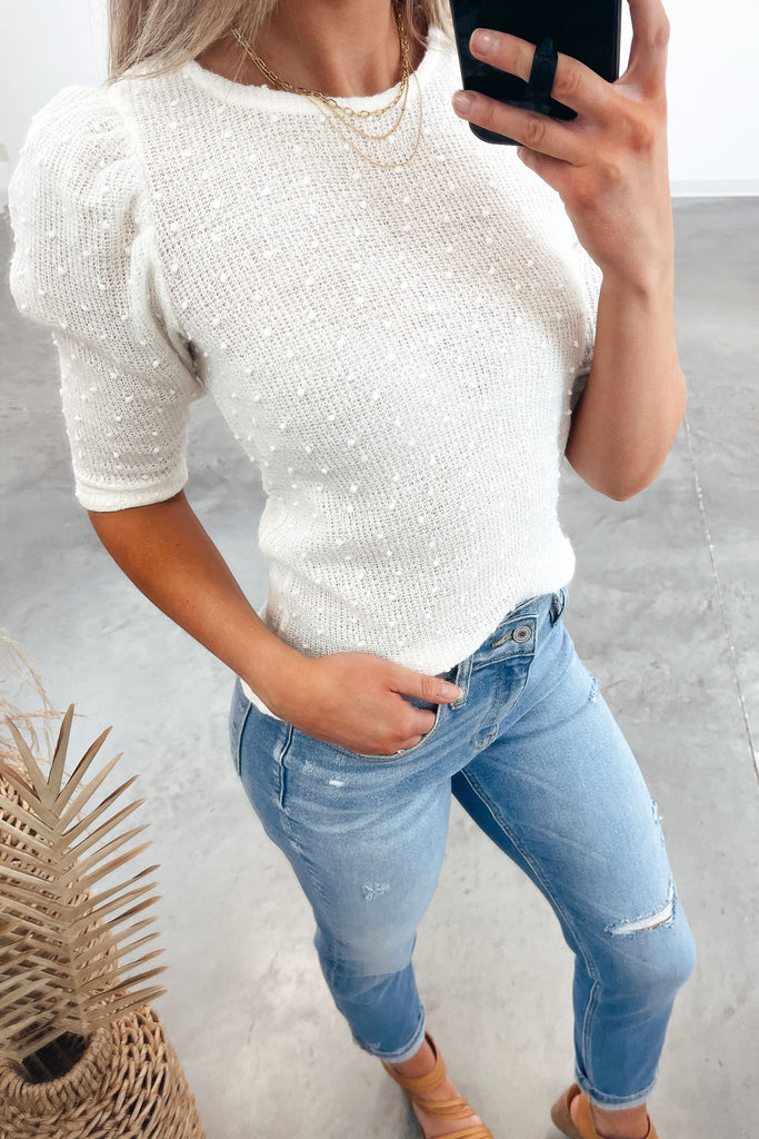 Yours Forever Puff Sleeve Top - Ivory