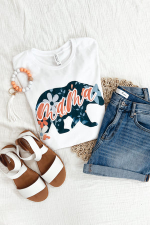 Mama Bear Floral Tee - White