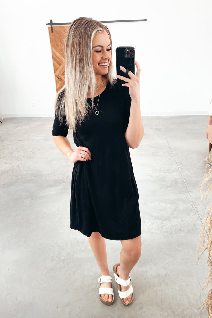 Grace & Lace Everyday Basic Pocket Dress - Black