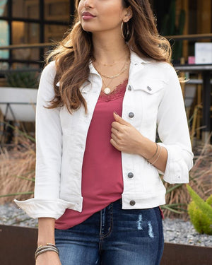 PRE-ORDER Grace & Lace Ultimate Denim Jacket - White