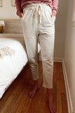 Pin Stripe French Terry Pants - Grey/Ivory