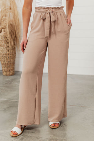 Paper Bag Wide Leg Pants - Taupe