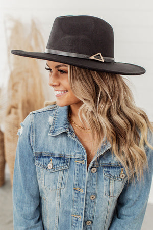 Triangle Buckle Flat Brim Hat - Black