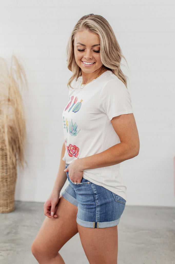 Grace & Lace Perfect Crew Neck Graphic Tees - Watercolor Succulents