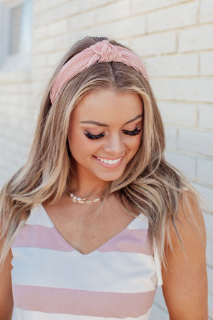 Ribbed Knotted Headband - Pink