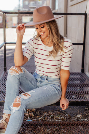 Telling Secrets Striped Bodysuit - Ivory