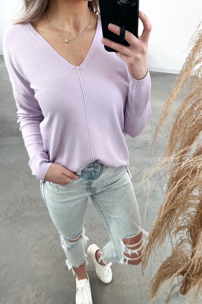 Read The Signs Center Seam Sweater - Lavender
