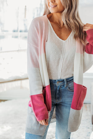 Bubblegum Color Block Cardigan