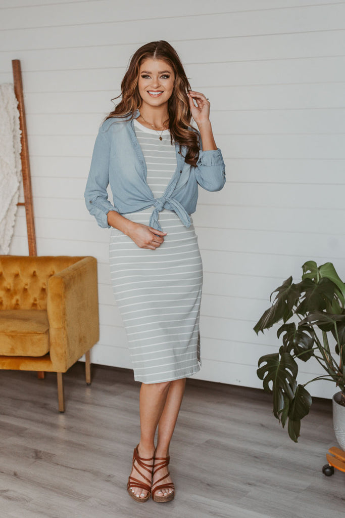 Striped Side Shirred Long Sleeve Top - Ivory