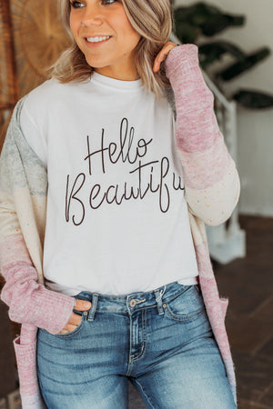 Hello Beautiful Graphic Tee - White