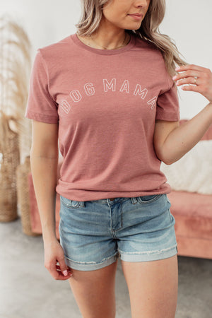 Dog Mama Tee - Heather Mauve