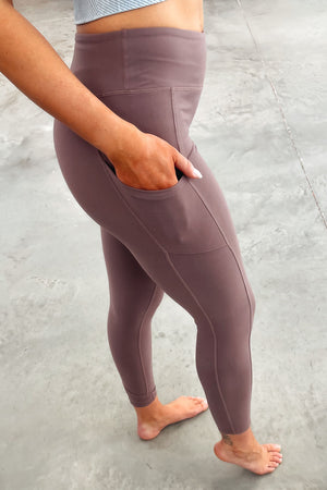 Pocketed Butter Soft Leggings - Dark Mauve