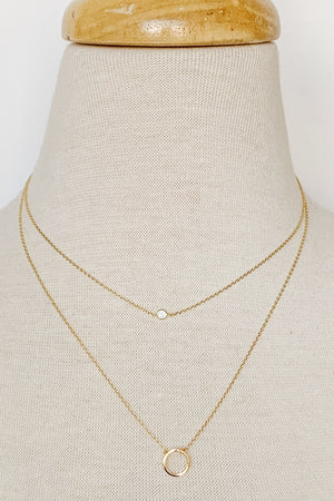 Dainty Double Layered Circle Necklace - Gold - Beautique