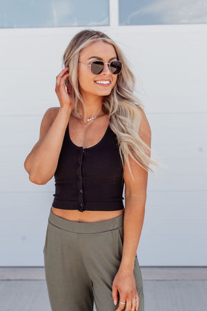Snap Front Ribbed Crop Top