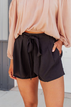 First Chance Belted Shorts - Black