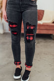 Judy Blue Buffalo Plaid Patched Skinny Jeans - Black