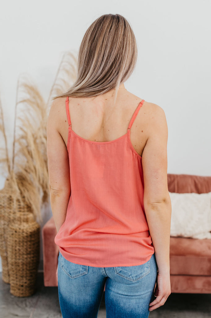 In The Moment Crochet Trimmed Tank - Coral