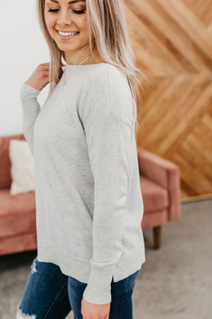 Ribbed Shoulder Sweater - Light Grey
