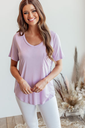 Solid V Neck Basic Tee - Lilac