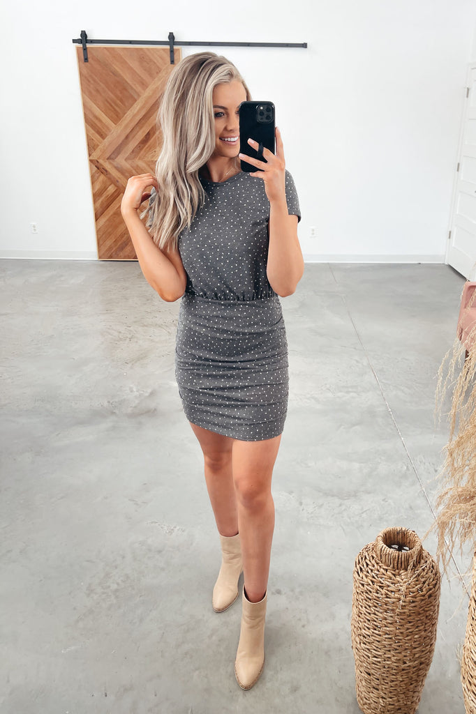 Dotted Side Ruched Dress - Charcoal