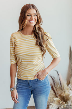 Maria Puff Sleeve Top - Mustard Stripe