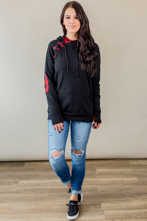 Black Buffalo Plaid Hoodie (Regular & Nursing Option) - Beautique