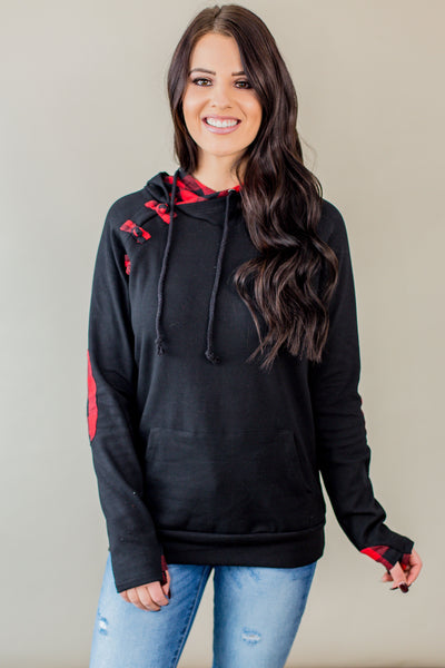 Black Buffalo Plaid Hoodie (Regular & Nursing Option)