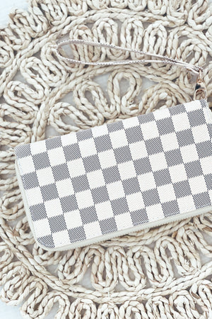 London Check Wallet - Cream