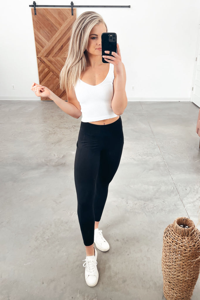 V-neck Rib Crop Top - White