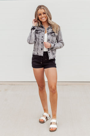 Linen Drawstring Shorts - Black