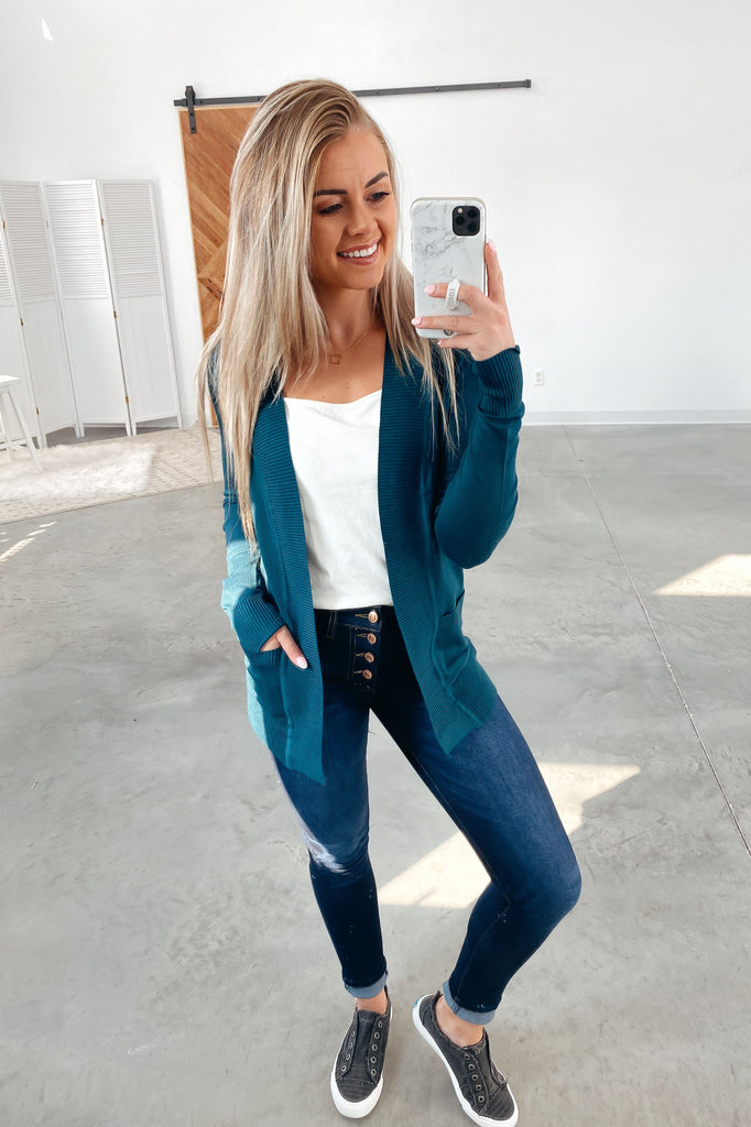 Nothing But Time Cardigan-Teal(S-XL)