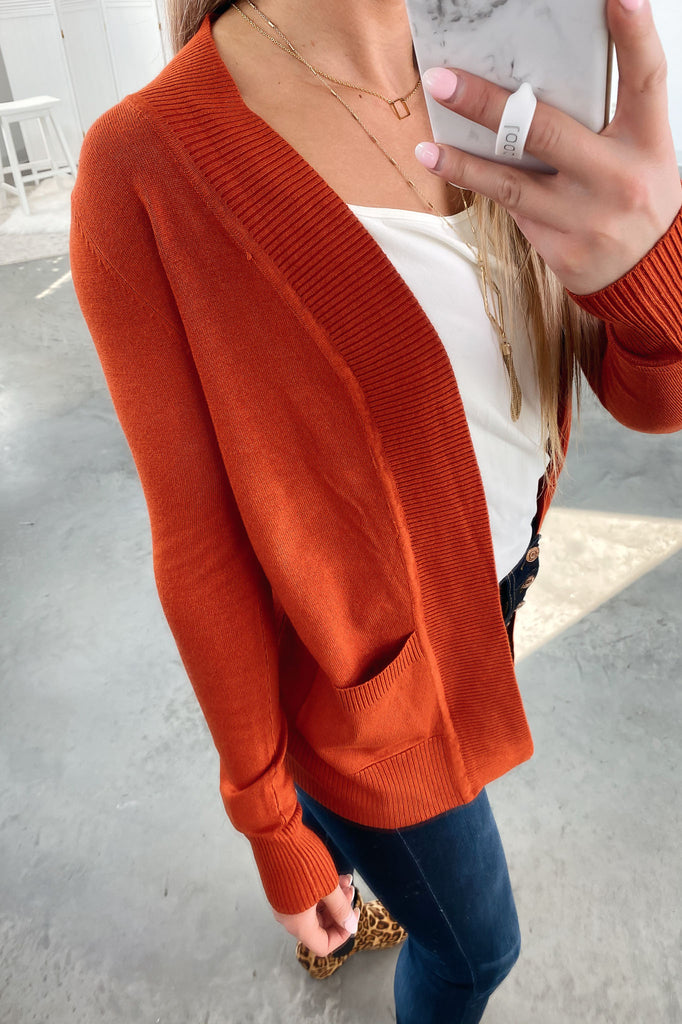 Nothing But Time Cardigan-Rust(S-XL)