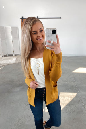 Nothing But Time Cardigan-Mustard(S-XL)