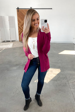 Nothing But Time Cardigan-Magenta(S-XL)