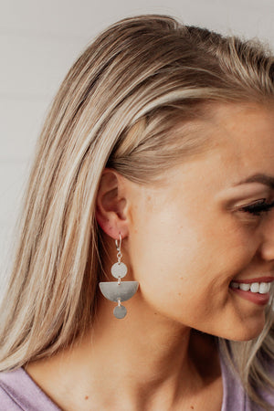 Half Moon and Disc Earrings - Silver