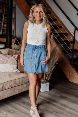 Thread & Supply Rooftop Skirt - Denim Aztec