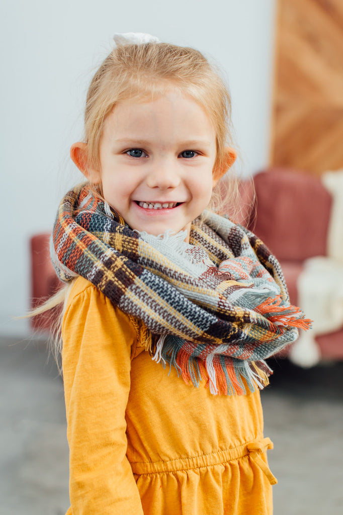 Kids Plaid Infinity Scarf-Gray/Mustard