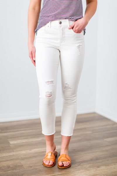 Grace & Lace White Zip Up Cropped Jeggings