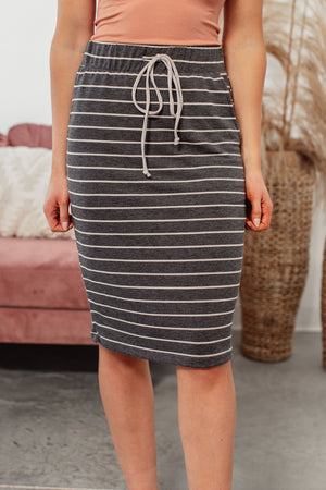 Lonely Heart Striped Midi Skirt