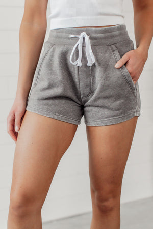 Fleece Burnout Shorts - Heather Grey